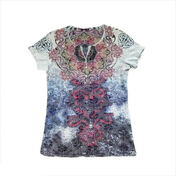Boho Style Graphic Blue Top with Jewels